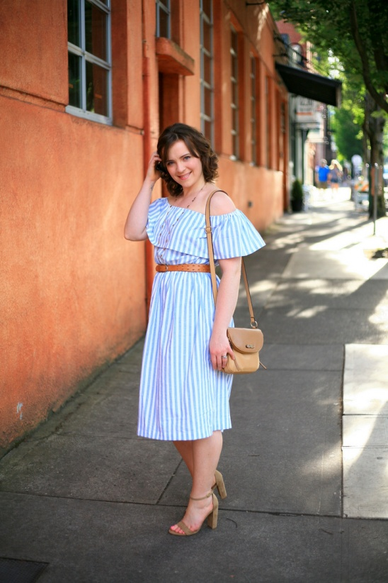 1ef1f0b1d333 Off-the-shoulder blue and white stripe dress by Create Enjoy ...