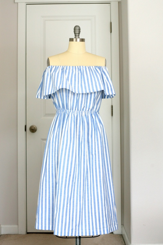 2d623e23675d Off-the-shoulder blue and white stripe dress by Create Enjoy ...