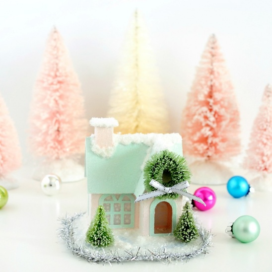 Turn Tiny Paper Houses Into Winter Wonderland By All Things Paper Project Home Decor Papercraft Decorative Holiday Kollabora