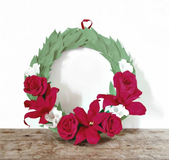 Crepe Paper Holiday Wreath By All Things Paper