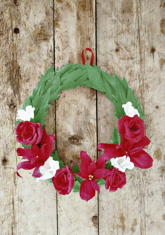 Crepe Paper Holiday Wreath By All Things