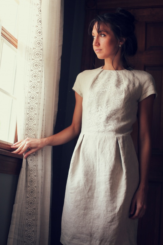 White Lace and Linen Pleated Summer Dress by Marusya Grace | Project ...