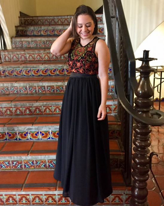 82ffed202e6b I made this dress for a friend s black tie wedding. I thrifted the  beautiful embroidered top and built the