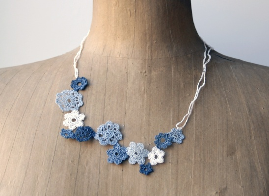 Paper Yarn Crochet Flower Necklace By Paperphine Project