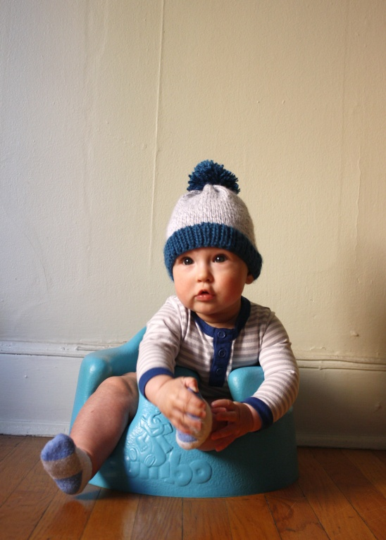Big Pom Baby Beanie Free Knitting Pattern By Michael Ann Project