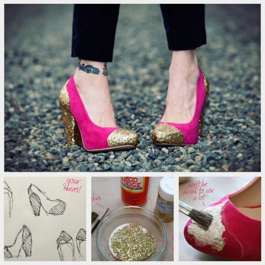 DIY Glitter Shoes By Trinkets In Bloom | Project | Jewelry | Home Decor /  Accessories | Shoes | Womenu0027s | Holiday | Kollabora