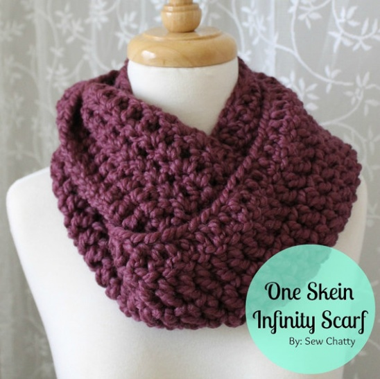 One Skein Crochet Infinity Scarf by Claireabellemakes ...