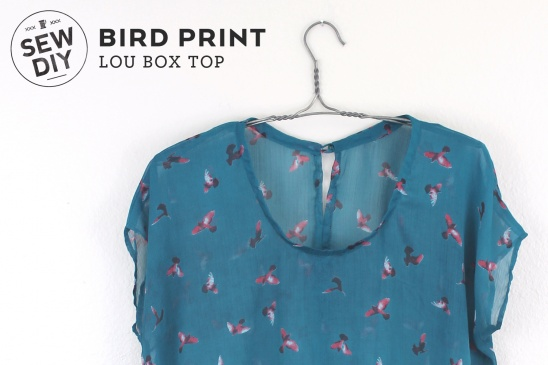 Bird Print Lou Box Top by Sew DIY Project Sewing / Shirts