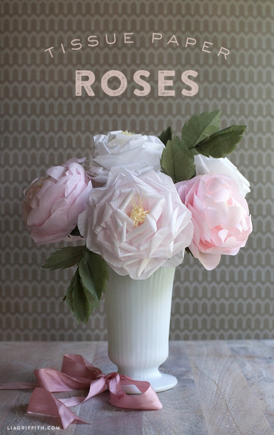 diy tissue paper roses by lia griffith