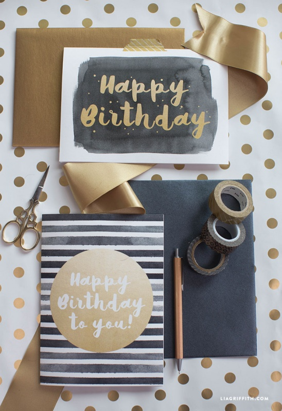 Modern Happy Birthday Cards by lia griffith Project – Papercraft Birthday Card
