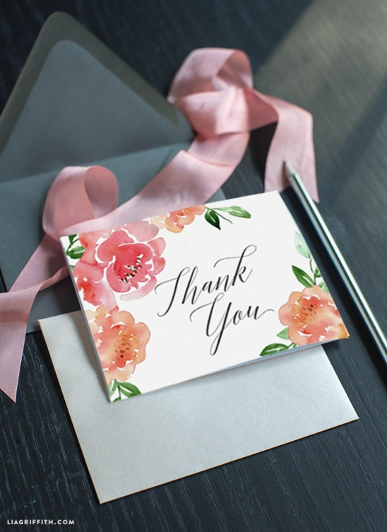 watercolor peony thank you cards by lia griffith project