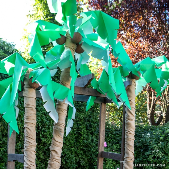Diy palm tree party decor by lia griffith project home for How to make luau decorations at home