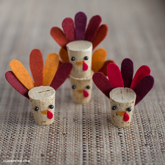 Diy cork turkey kids craft by lia griffith project for Kids crafts with wine corks