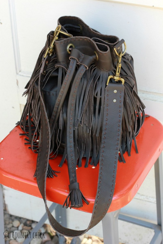 Hand Stitched Fringed Leather Bucket Bag By Justine Marie
