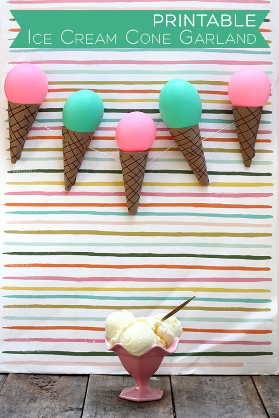 printable ice cream cone garland by tan of squirrelly minds project home decor papercraft. Black Bedroom Furniture Sets. Home Design Ideas