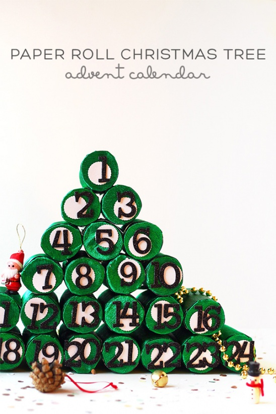 Diy christmas tree ornaments and tree topper ecogreenlove for Christmas tree advent calendar diy