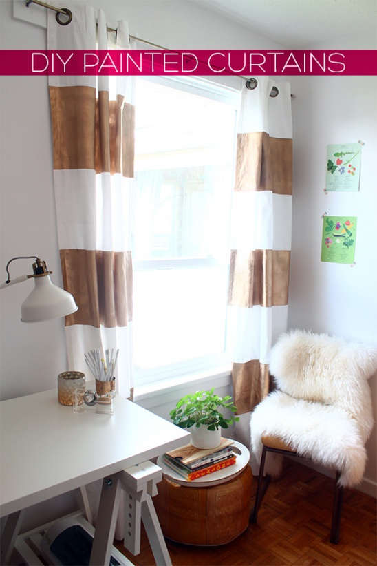 DIY Gold Striped Curtains By Tan Of Squirrelly Minds