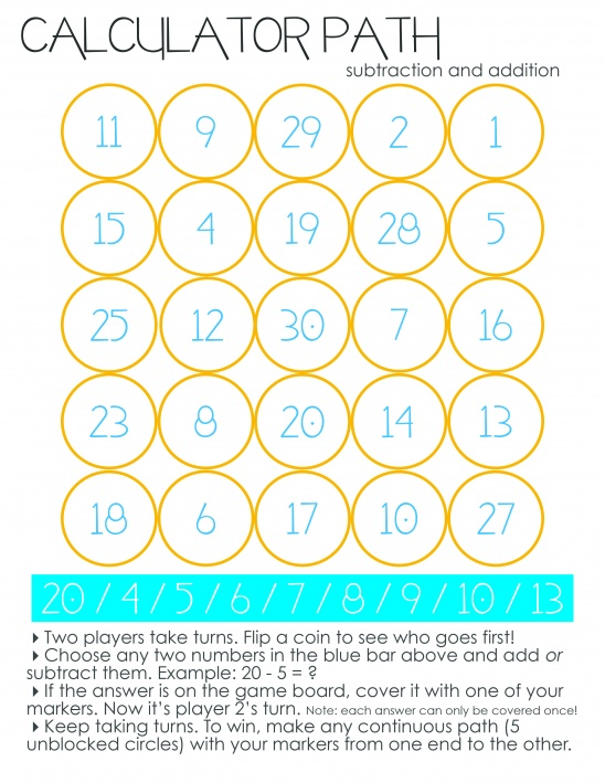 Printable Math Game by Tan of Squirrelly Minds | Project ...