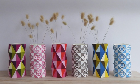 geo vases diy paper craft by ellen giggenbach project home decor decorative kollabora