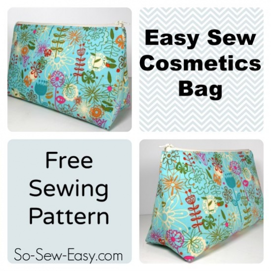 Easy Cosmetics Bag Pattern by So Sew Easy | Project | Sewing / Bags ...