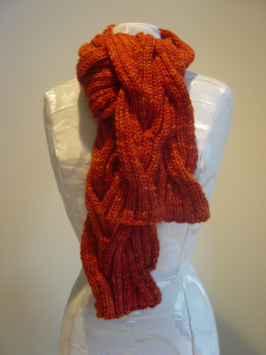 ribbed reversible cable scarf by carolynne flanagan project