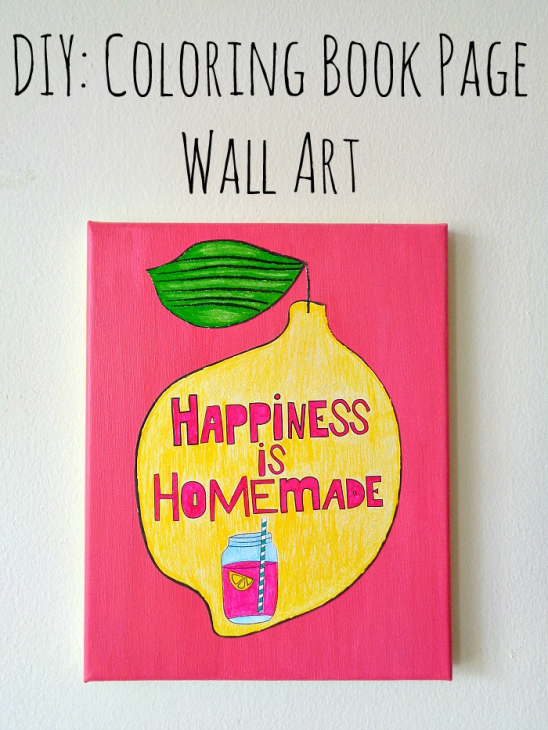 DIY: Coloring Book Page Wall Art by Running With A Glue Gun ...