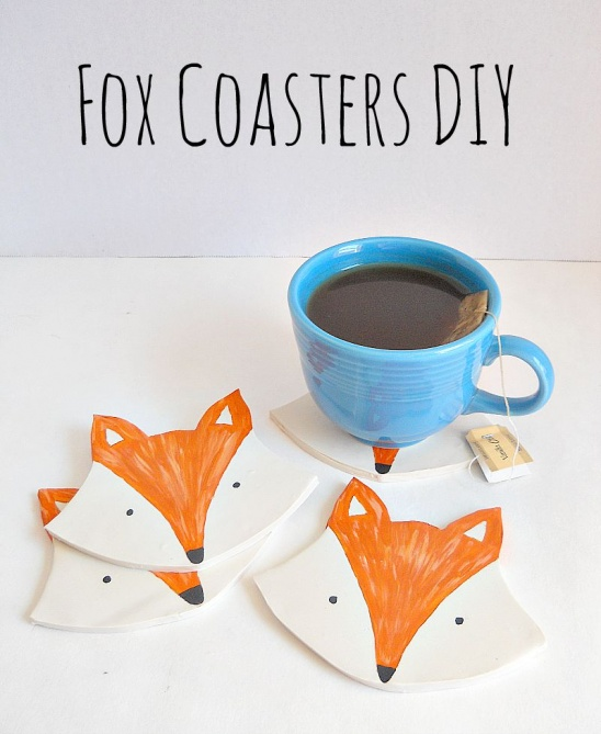Diy Clay Fox Coasters By Running With A Glue Gun Project Home Decor Decorative Holiday Coasters Tableware Kollabora