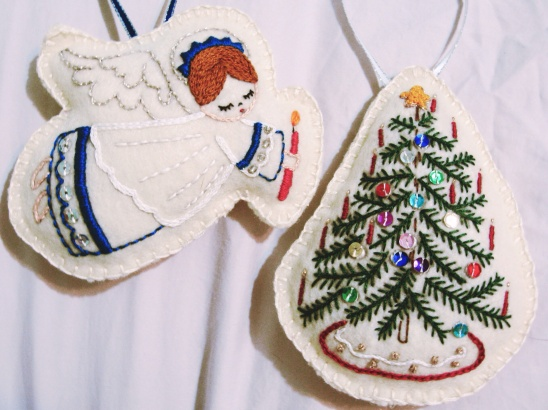 christmas ornaments by liz ruff project sewing embroidery felting decorative holiday kollabora - Embroidered Christmas Ornaments