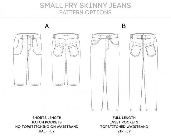 Small Fry Skinny Jeans PDF Sewing Pattern (Large Sizes: 3 to 12 ...
