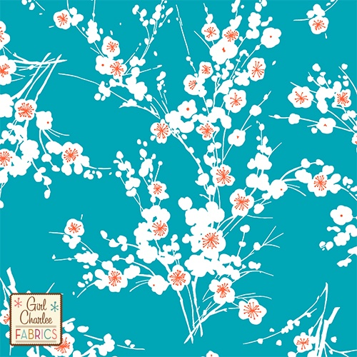 Knitting Terminology M1 : Teal orange cherry blossom floral cotton jersey blend knit