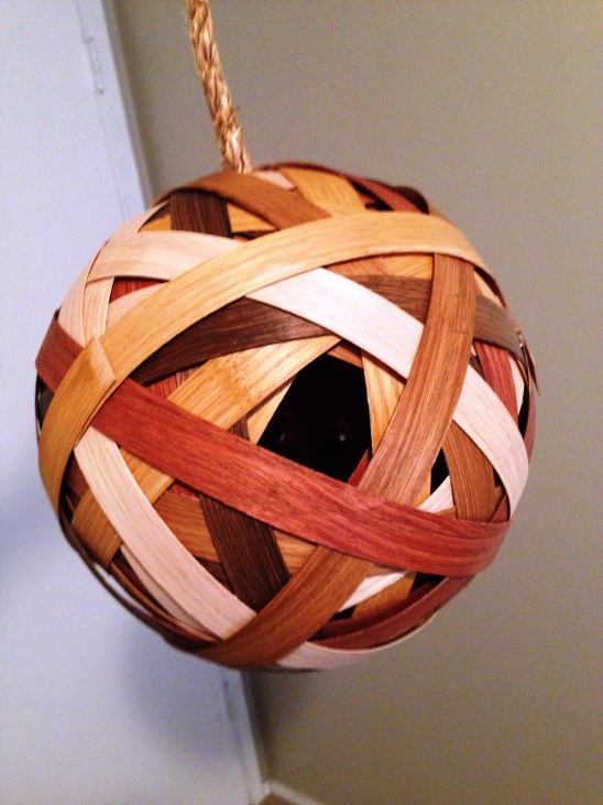Birdhouse ball by chelsea h project home decor for Wood veneer craft projects