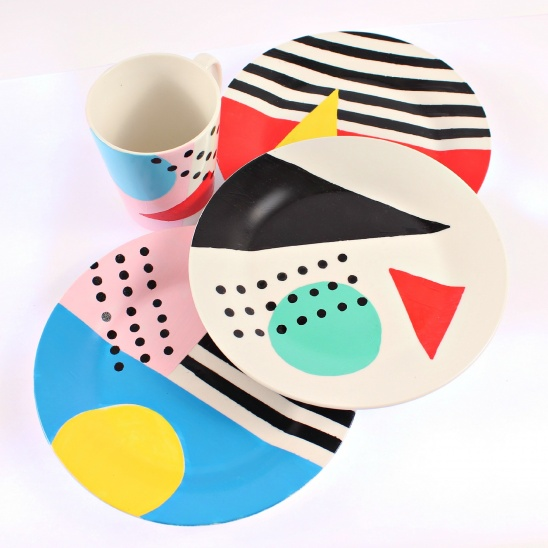 80s Memphis Inspired Dishes Diy By Mark Montano Project Home Decor Decorative Coasters Tableware Kollabora