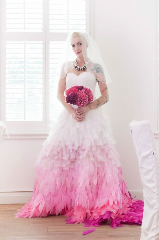 My Wedding Dress Hand Dyed Feathers