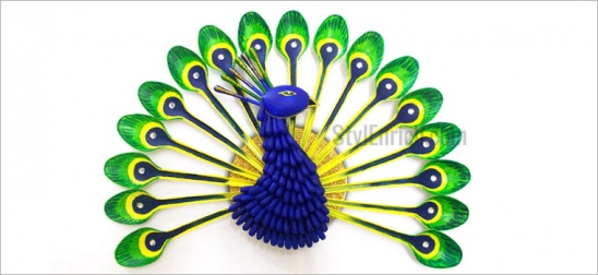 Diy recycled crafts how to make plastic spoon peacock by for West materials crafts in hindi