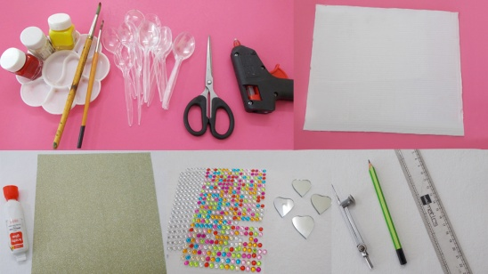Material Required To Make The Diy Plastic Spoon Wall Decor