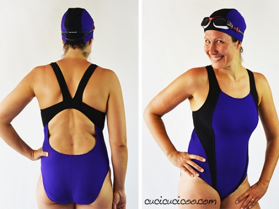 4daa6ace66 Jalie 3134 raceback bathing suit with swim cap (purple and black) by ...