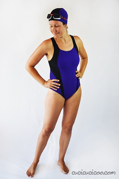 13ac409eb5 This was my first version of the Jalie 3134 Women's Racerback Swimsuit by  Jalie, size W, in purple with black contrast and lining.