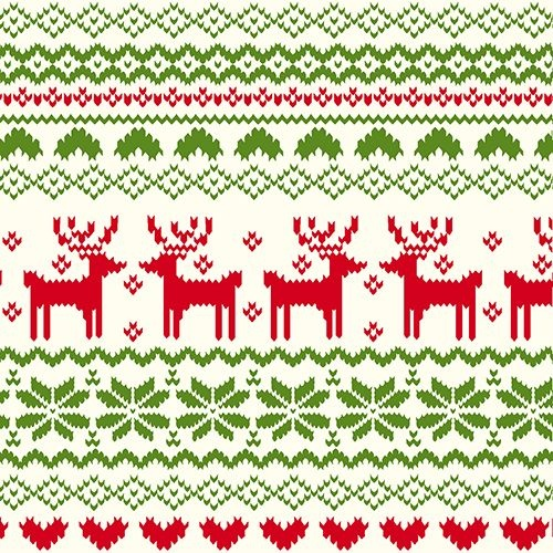 Red Green FairIsle Reindeer Pattern on Ivory Cotton Jersey Blend ...