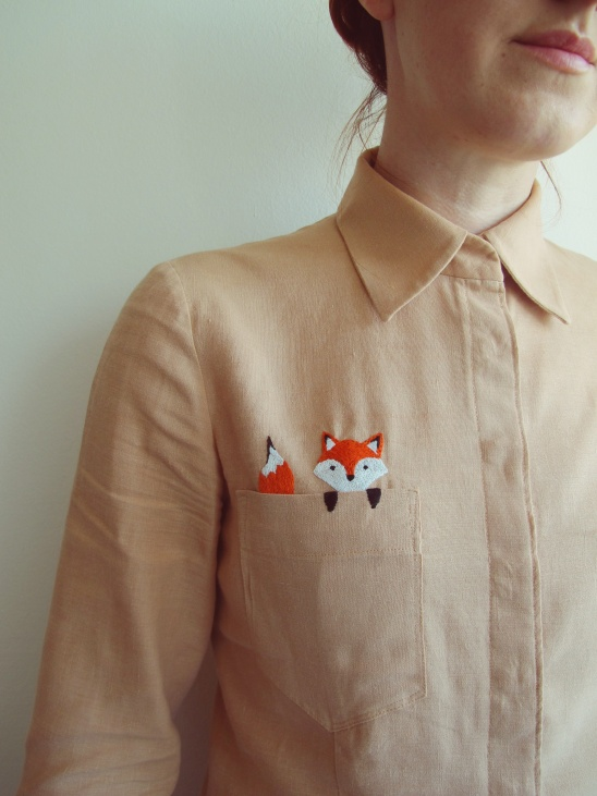 My pocket fox by kelerabeus project sewing for How to embroider t shirts
