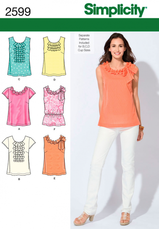 Simplicity Womens Tops And Shirts Sewing Pattern 2599 Supply
