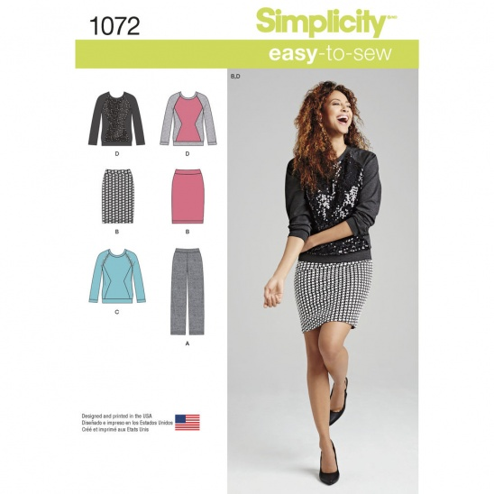 Simplicity Pattern For Misses Knit Pants Skirt And Top