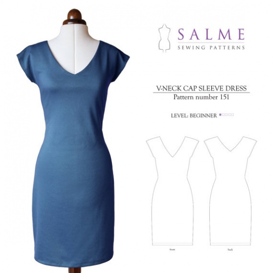 V-neck Cap Sleeve Dress | Supply | Patterns | Kollabora