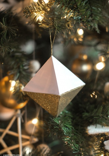paper geode christmas ornaments by lia griffith