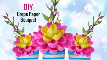 Diy paper craftseasy origami paper flowers by ananvita bhattacharya diy easy paper craft how to make a pretty crepe paper flower bouquet by ananvita bhattacharya mightylinksfo