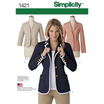Simplicity Pattern for Misses\' Unlined Jacket with Collar and ...